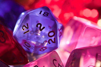 Dungeon Photograph - Role-playing D20 Dice by Marc Garrido