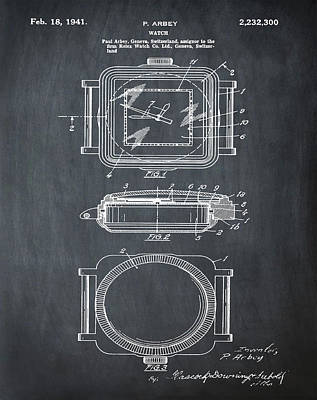 Rolex Watch Patent 1941 In Chalk Art Print by Bill Cannon