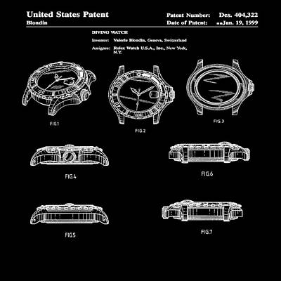 Sepia Chalk Photograph - Rolex Watch Patent 1999 In Black by Bill Cannon