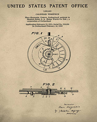 Old Style Drawing - Rolex Watch Patent 1999 In Old Style by Bill Cannon