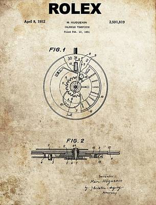 Rolex Watch Patent Art Print by Dan Sproul