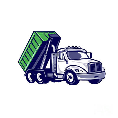 Heavy Equipment Digital Art - Roll-off Truck Bin Truck Cartoon by Aloysius Patrimonio