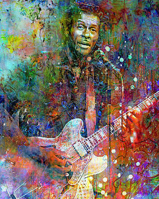 Music Mixed Media - Roll Over Beethoven, Chuck Berry by Mal Bray