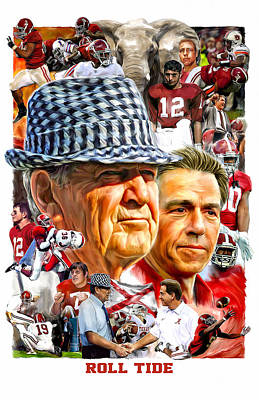 Football Paintings - Roll Tide by Mark Spears