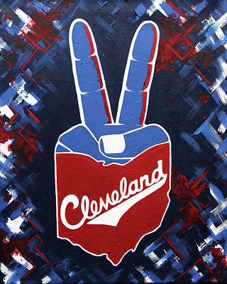 Cleveland Indians Painting - Roll Tribe by Allison Liffman