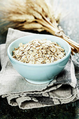 Rolled Oats In A Bowl  Art Print by Natalia Klenova