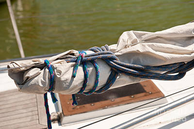 Sail Cloth Photograph - Rolled Up Mast Sail Cloth by Arletta Cwalina
