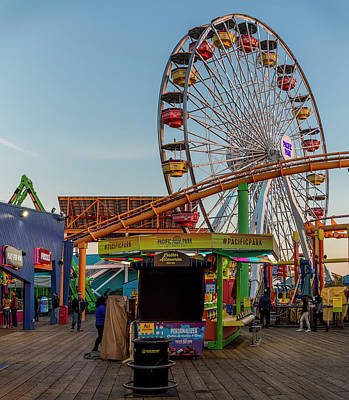 Photograph - Roller Coaster And Ferris Wheel by Gene Parks