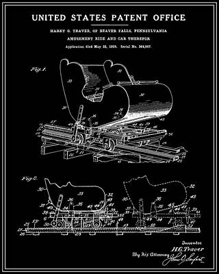 Rollercoaster Digital Art - Roller Coaster Patent - Black by Finlay McNevin