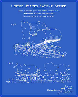 Rollercoaster Digital Art - Roller Coaster Patent - Blueprint by Finlay McNevin