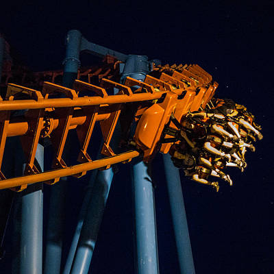 Roller Coaster Mixed Media - Roller Coaster Ride At Night by Robert Zeigler