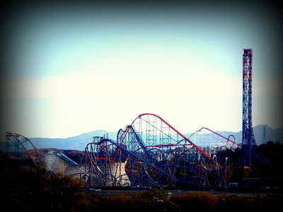 Roller Coasters At Twilight Art Print