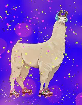 Digital Art - Roller Disco Llama by Kim W Nolan