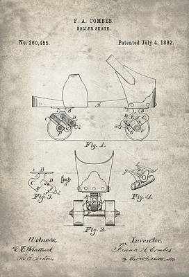 Drawing Photograph - Roller Skate Patent - Patent Drawing For The 1882 F. A. Combes Roller Skate by Jose Elias - Sofia Pereira