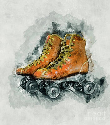 Lace Mixed Media - Roller Skates by Ian Mitchell