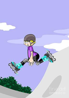Rollerblader Boy Jumping In The Skate Park Art Print