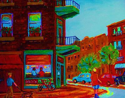 Painting - Rollerblading  Past The Cafe by Carole Spandau