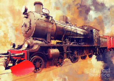 Steam Engine Mixed Media - Rollin On Down The Line by KaFra Art
