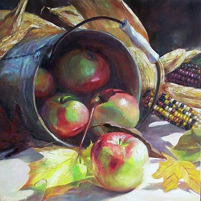 Rolling Apples Art Print by Donna Munsch