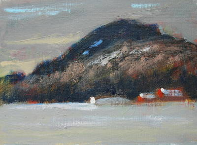 Red Barn In Winter Painting - Rolling Hill Study by Len Stomski