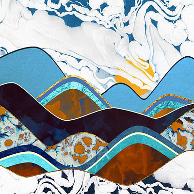 Abstract Landscape Digital Art - Rolling Hills by Spacefrog Designs