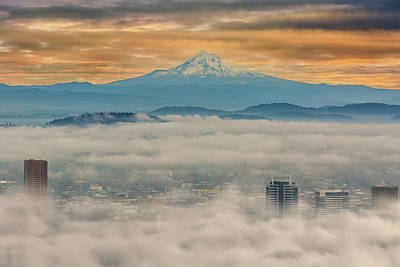 Photograph - Rolling Low Fog Over City Of Portland by David Gn