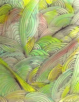 Rolling Patterns In Greens Art Print by Wayne Potrafka