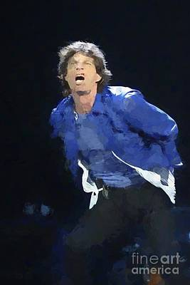 Photograph - Rolling Stones Mick Jaggar Painting by Concert Photos