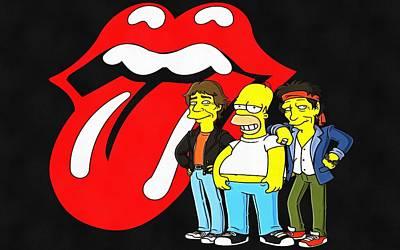 Rollingstone Painting - Rolling Stones Simpsons by Vadim Pavlov