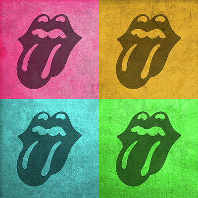 Rolling Stones Wall Art - Mixed Media - Rolling Stones Tongue Logo Pop Art Colorful Quadrants by Design Turnpike