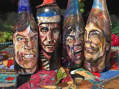 Neil Young Mixed Media - Rolling Stones Wine Bottles by Gracie Jane