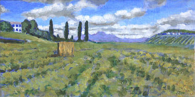 Tuscan Hills Painting - Rolling Ventures by David Zimmerman