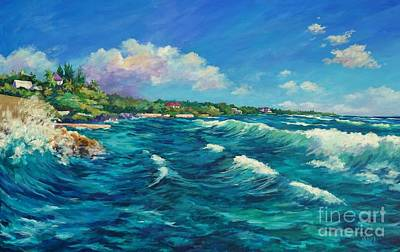 Caribbean Painting - Rolling Waves At Prospect Reef by John Clark