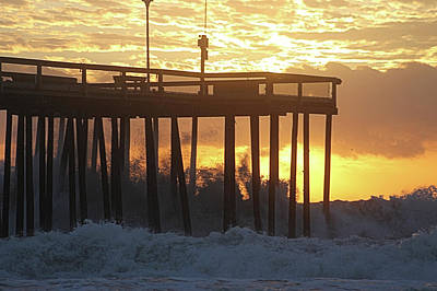 Photograph - Rolling Waves At The Pier by Robert Banach