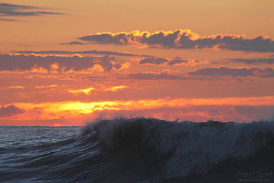 Photograph - Rolling Waves, Orange Horizon by Robert Banach