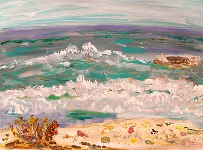Visionary Art Drawing - Rolling Waves Shells Beach by Mary Carol Williams