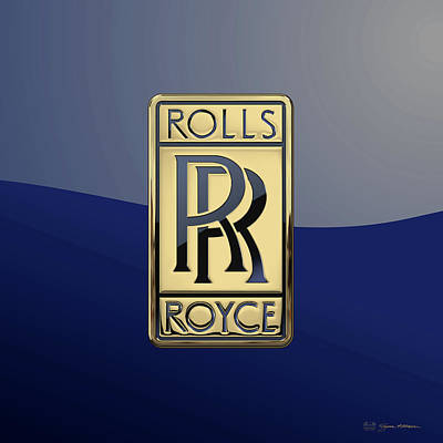 Digital Art - Rolls Royce - 3d Badge On Blue by Serge Averbukh