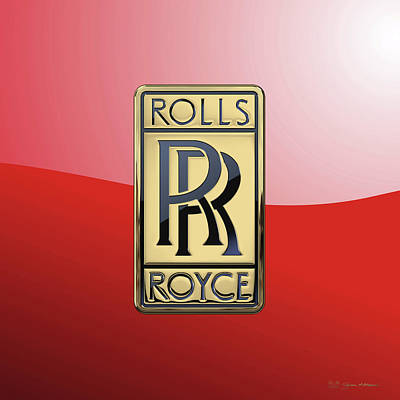 Historical Digital Art - Rolls Royce - 3d Badge On Red by Serge Averbukh
