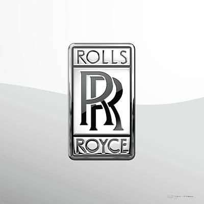 Digital Art - Rolls Royce 3d Badge Special Edition On White by Serge Averbukh