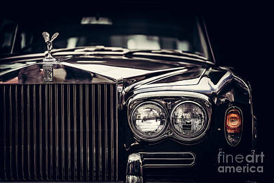 Photograph - Rolls-royce - Classic British Car On Black Background, Close-up. by Michal Bednarek