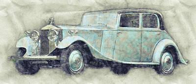 Mixed Media - Rolls-royce Phantom 1 - Luxury Car - 1925 - Automotive Art - Car Posters by Studio Grafiikka