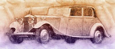 Mixed Media - Rolls-royce Phantom 2 - Luxury Car - 1925 - Automotive Art - Car Posters by Studio Grafiikka