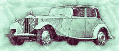 Mixed Media - Rolls-royce Phantom 3 - Luxury Car - 1925 - Automotive Art - Car Posters by Studio Grafiikka