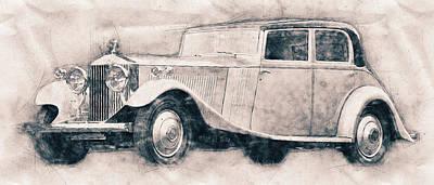 Mixed Media - Rolls-royce Phantom - Luxury Car - 1925 - Automotive Art - Car Posters by Studio Grafiikka
