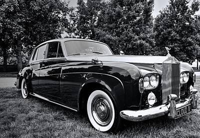 Photograph - Rolls Royce Silver Cloud IIi Black And White by Carol Montoya