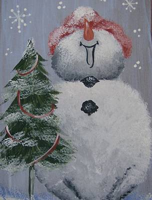 Art Print featuring the painting Roly Poly Snowman by Leslie Manley