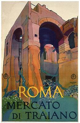 Royalty-Free and Rights-Managed Images - Roma Mercato Di Traiano - Romes Trajan Market - Retro travel Poster - Vintage Poster by Studio Grafiikka