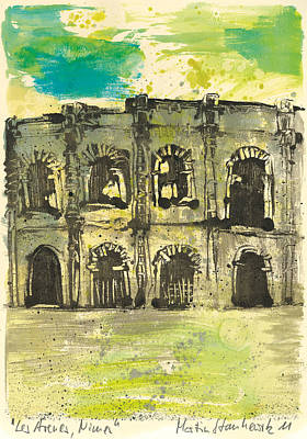 Painting - Roman Arena Nimes,provence,france by Martin Stankewitz