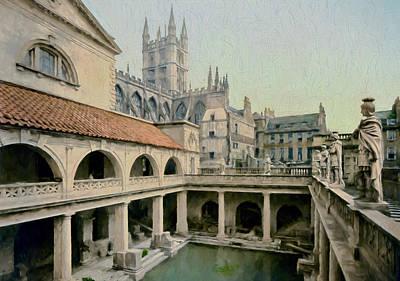 Vintage Painting - Roman Baths by John K Woodruff