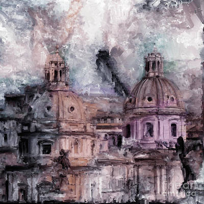 Painting - Roman Churches  by Gull G